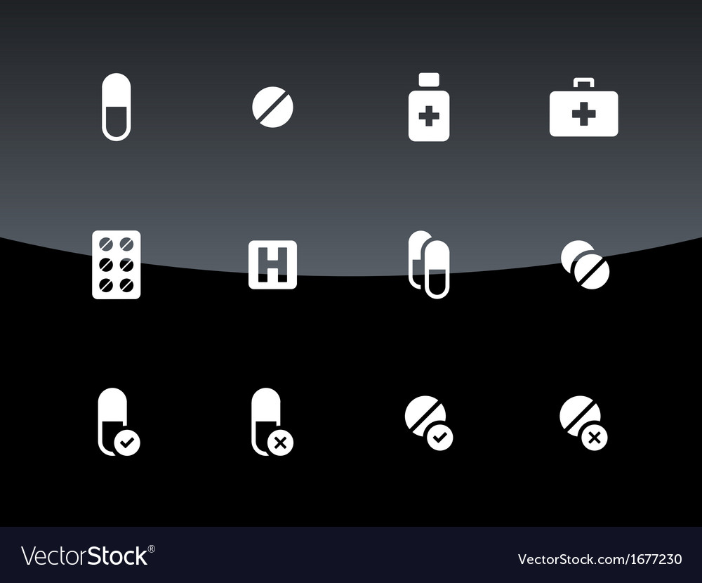 Pills medication icons on black background vector | Price: 1 Credit (USD $1)