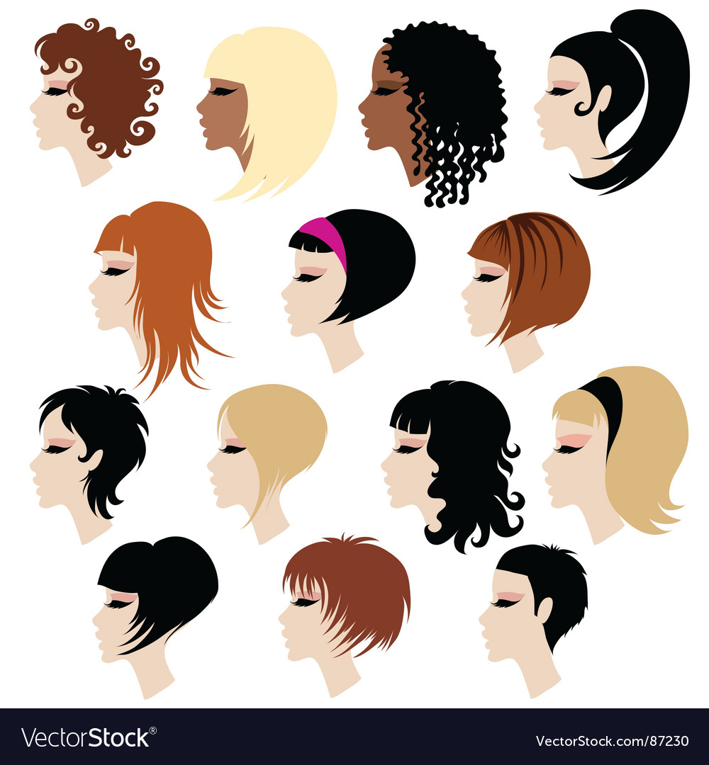 Set of trendy hair styling for woman vector | Price: 1 Credit (USD $1)