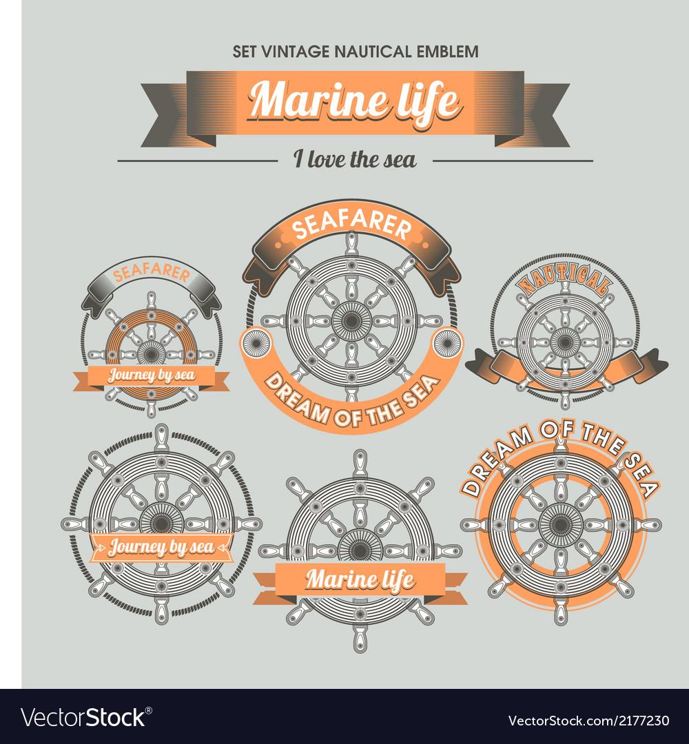 Set vintage nautical emblem vector | Price: 1 Credit (USD $1)