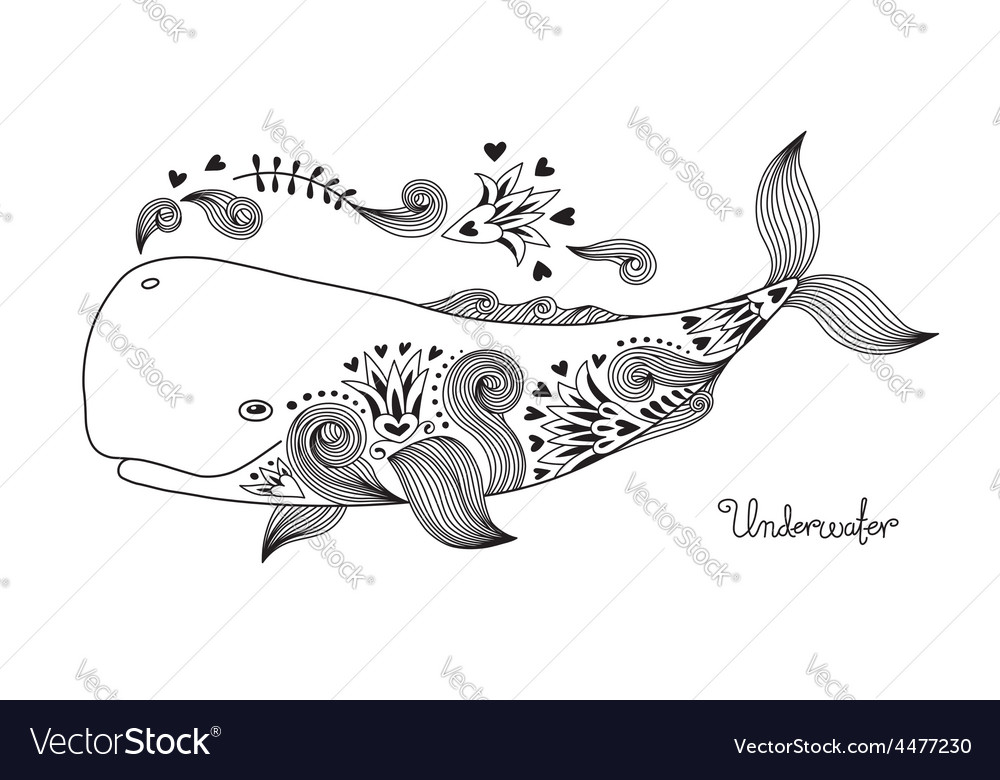 Tattoo happy whale vector