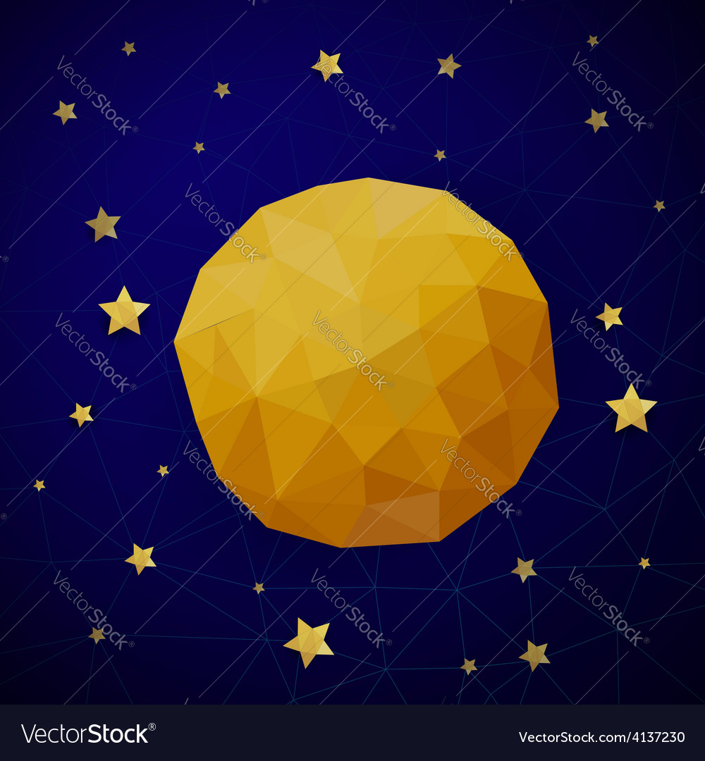 Triangle background with moon and the stars vector | Price: 1 Credit (USD $1)