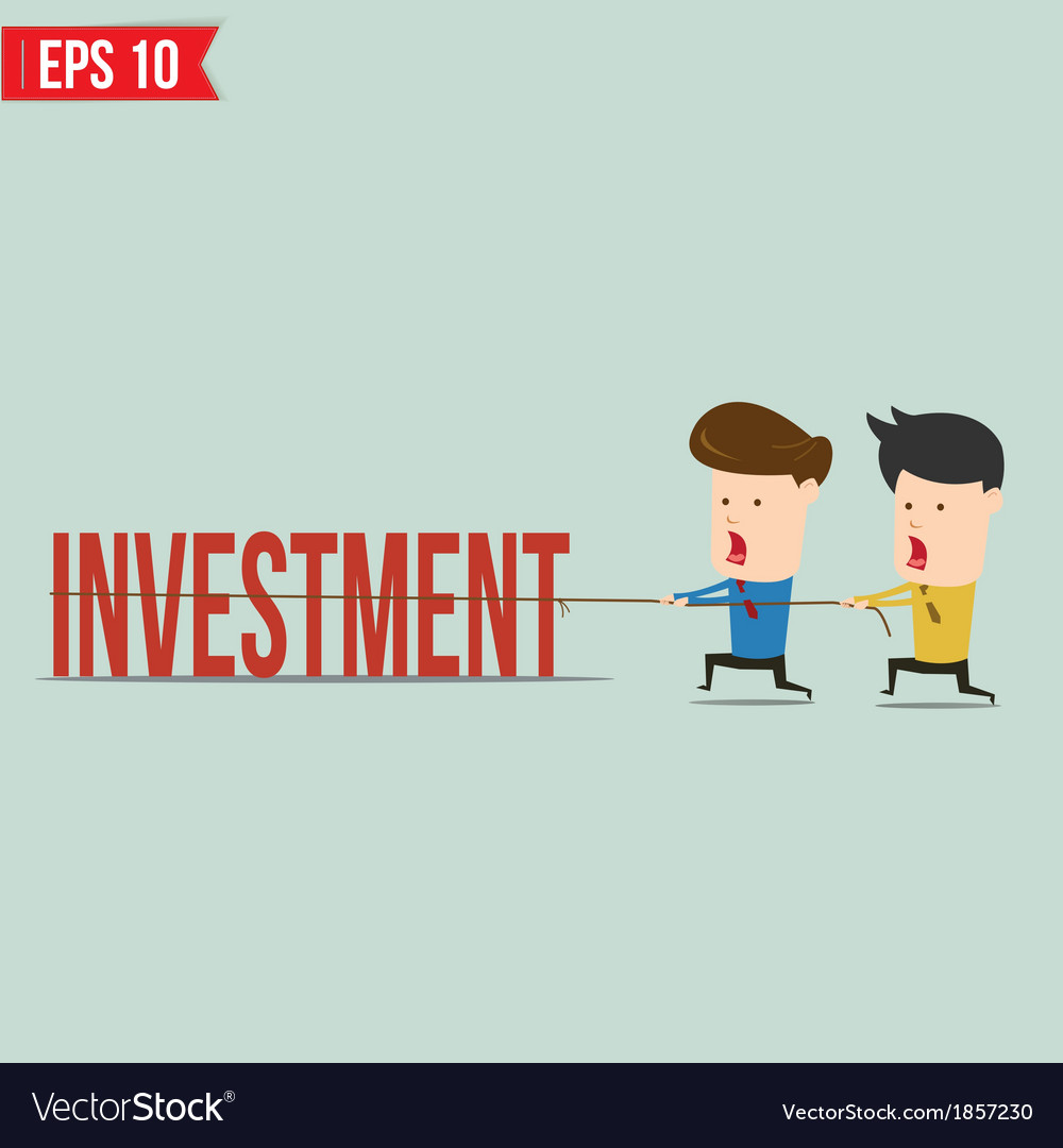 Two businessmen playing tug of war pull business vector | Price: 1 Credit (USD $1)