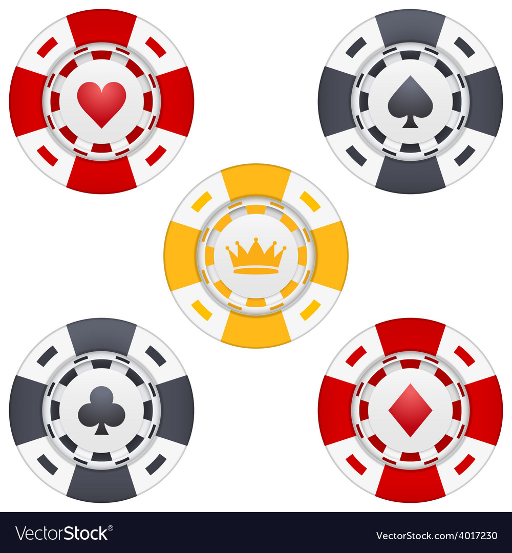 Universal casino chips with playing cards icons vector | Price: 1 Credit (USD $1)