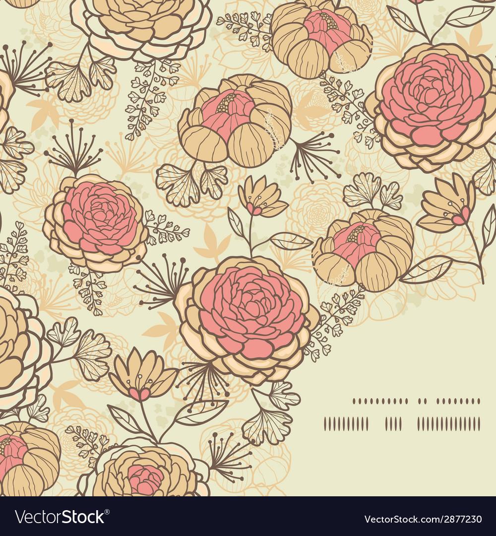 Vintage brown pink flowers frame corner pattern vector | Price: 1 Credit (USD $1)