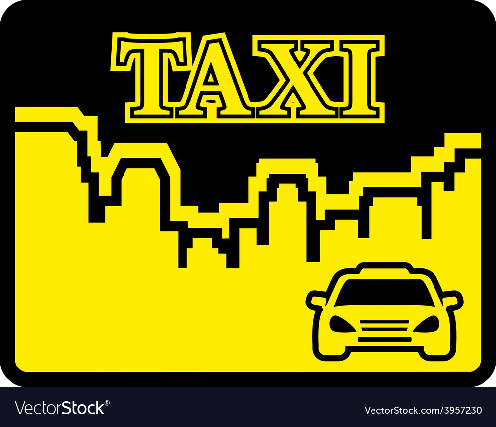 Yellow taxi icon on flat design style vector | Price: 1 Credit (USD $1)