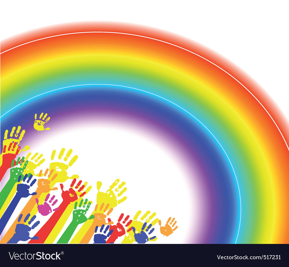 Color hands palms with rainbow vector