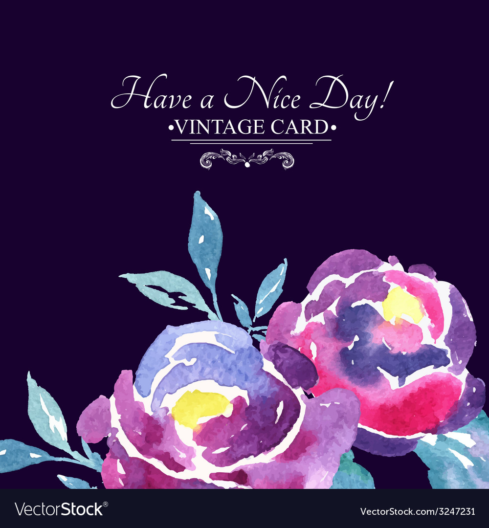 Colorful watercolor rose floral greeting card vector | Price: 1 Credit (USD $1)