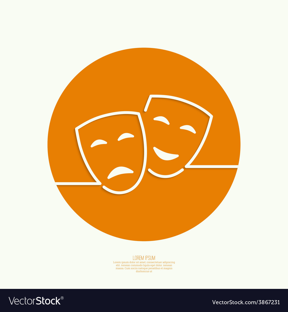 Comic and tragic theatrical mask vector | Price: 1 Credit (USD $1)