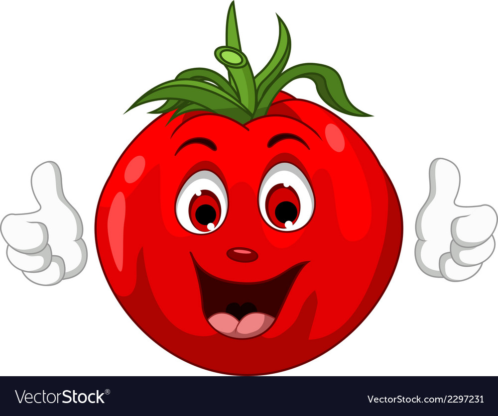 Cute tomato cartoon character giving thumbs up vector | Price: 1 Credit (USD $1)