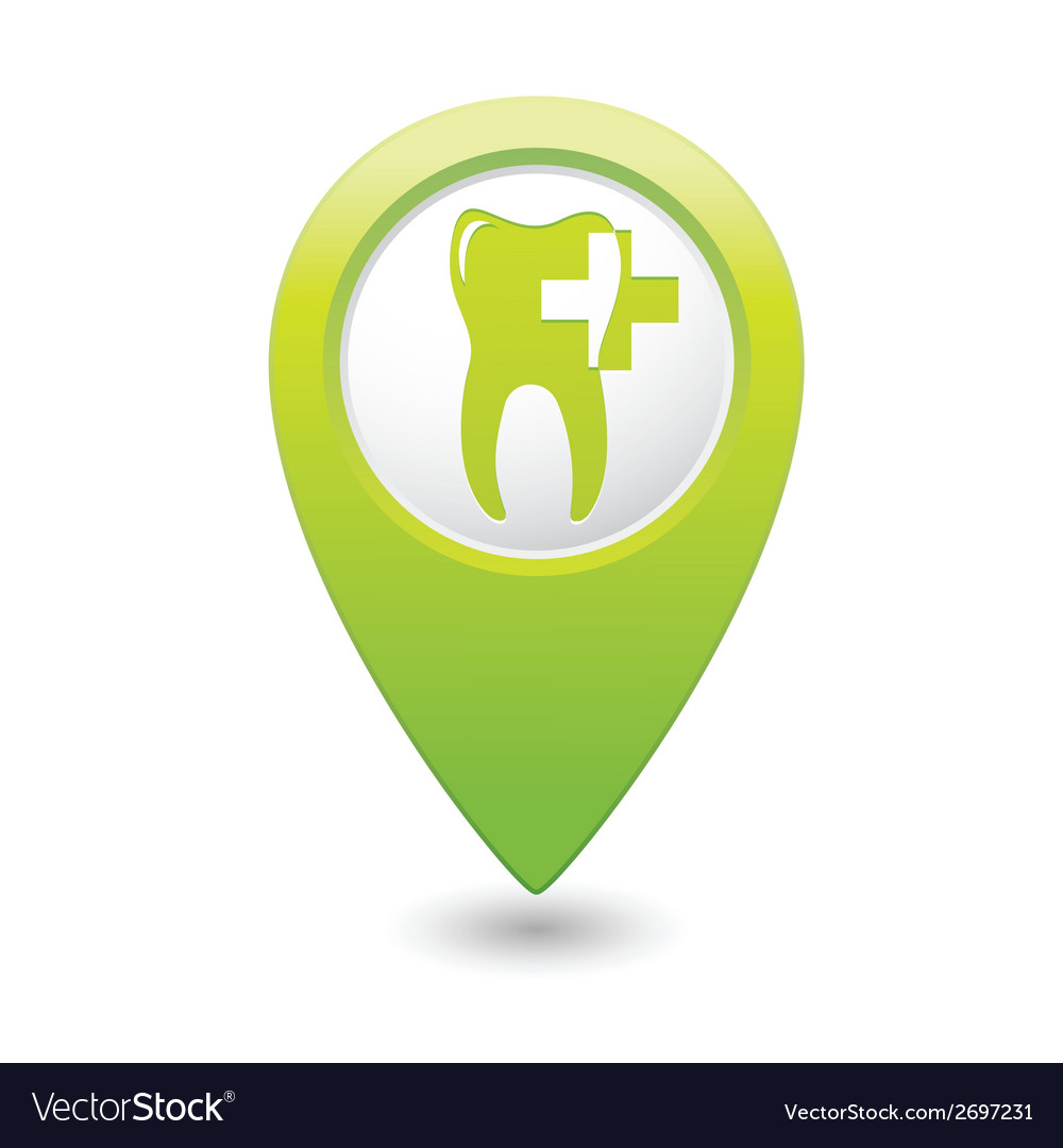 Dental clinic icon pointer green vector | Price: 1 Credit (USD $1)