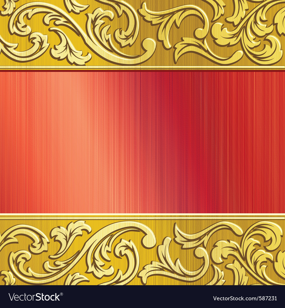 Gold and red ornate banner vector | Price: 1 Credit (USD $1)