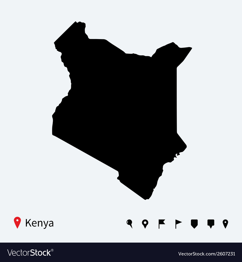 High detailed map of kenya with navigation pins vector | Price: 1 Credit (USD $1)