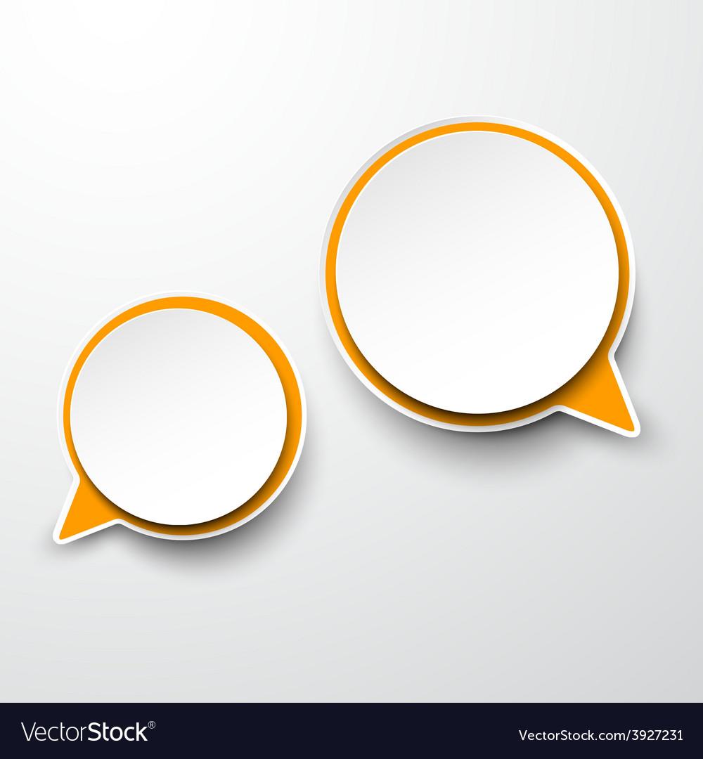 Paper white-orange round speech bubbles vector | Price: 1 Credit (USD $1)