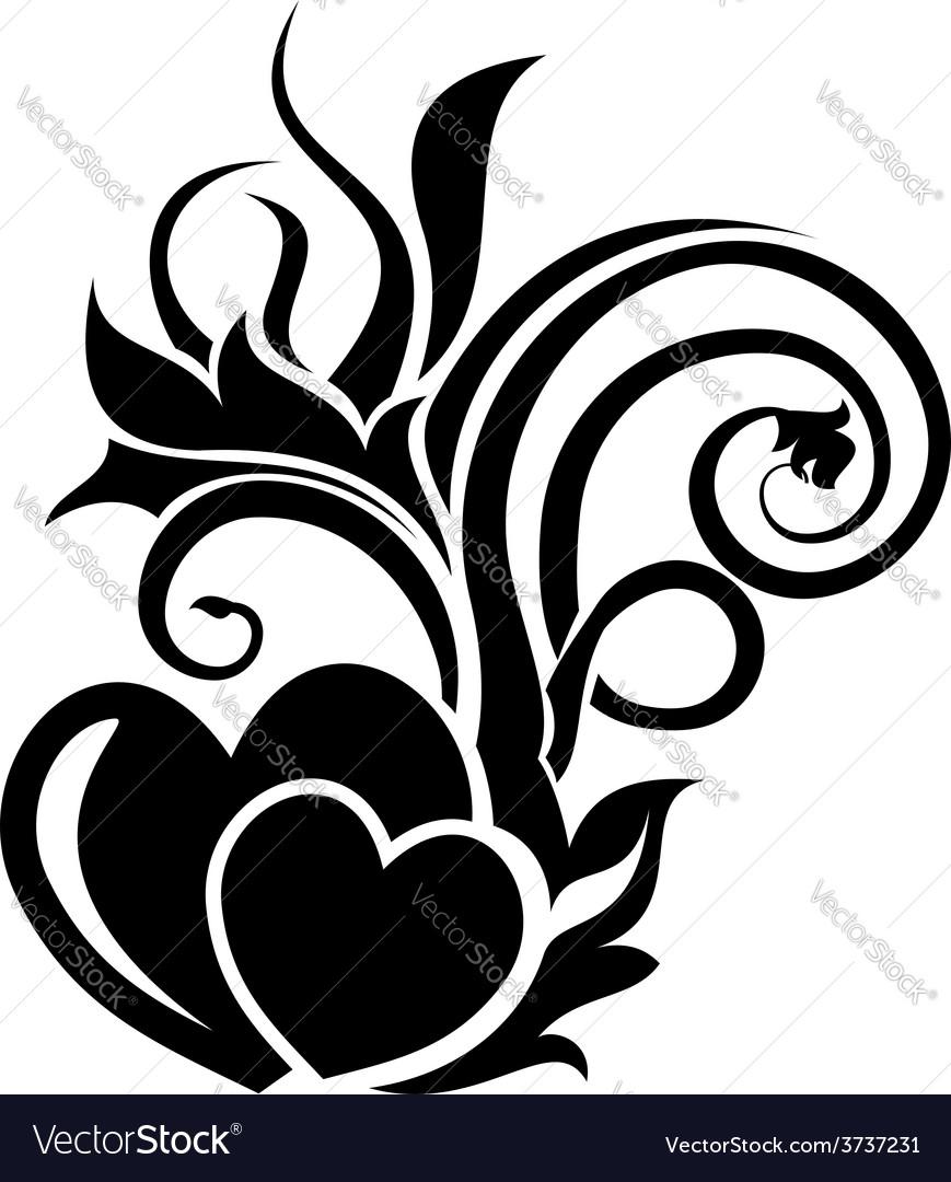 Valentine day floral design element vector | Price: 1 Credit (USD $1)