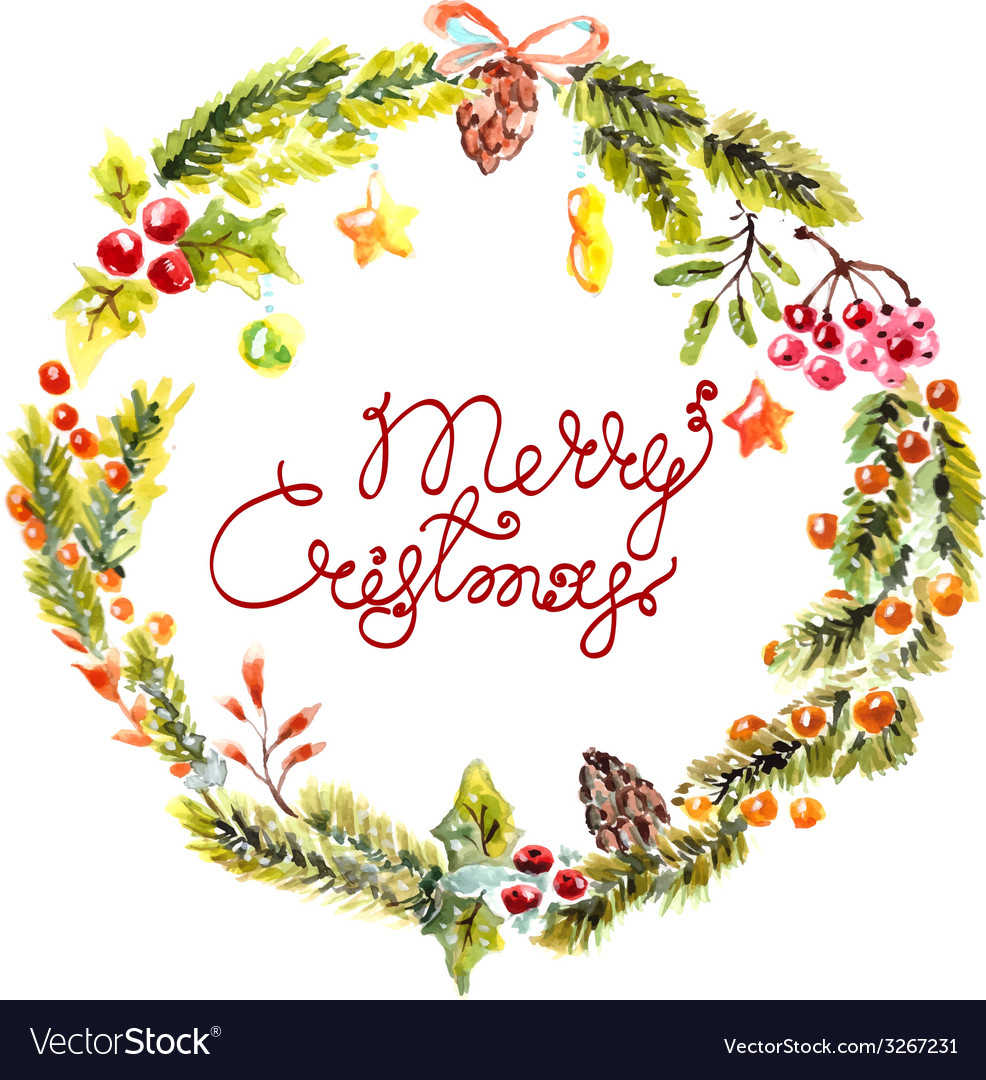 Watercolor christmas floral frame vector | Price: 1 Credit (USD $1)
