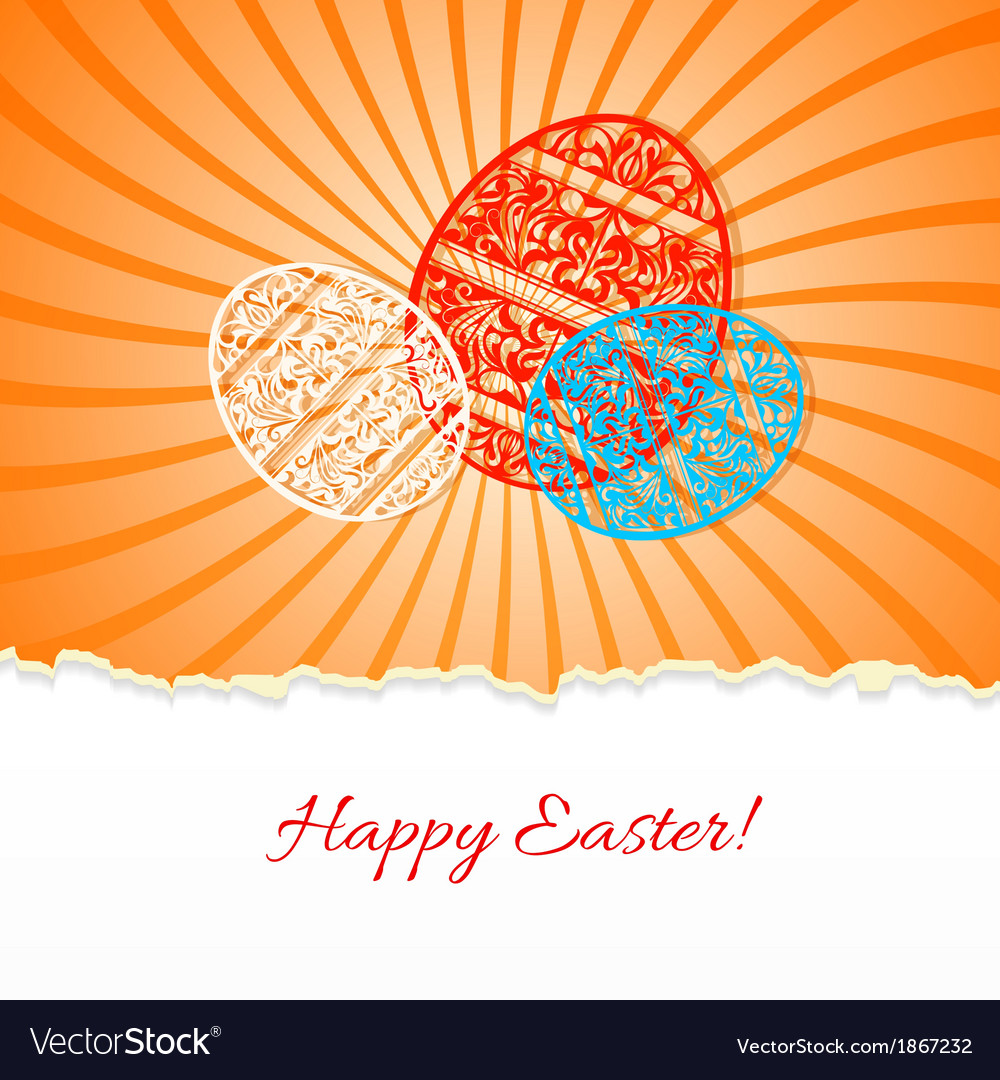 Background with a paper easter egg and rays vector | Price: 1 Credit (USD $1)