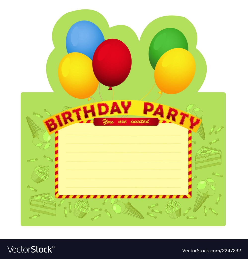 Birthday party inventation card vector | Price: 1 Credit (USD $1)