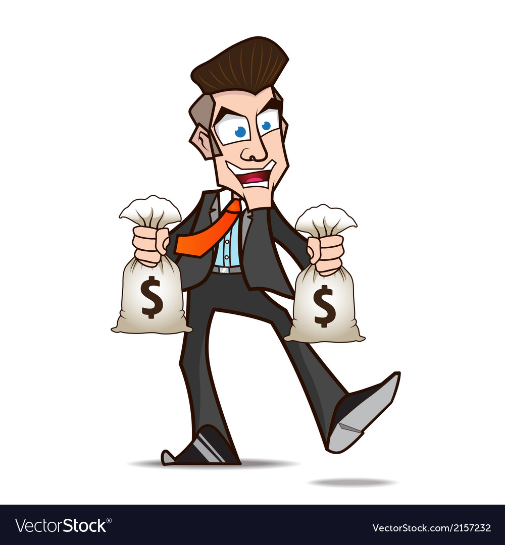 Businessman glad of money cartoon vector | Price: 1 Credit (USD $1)