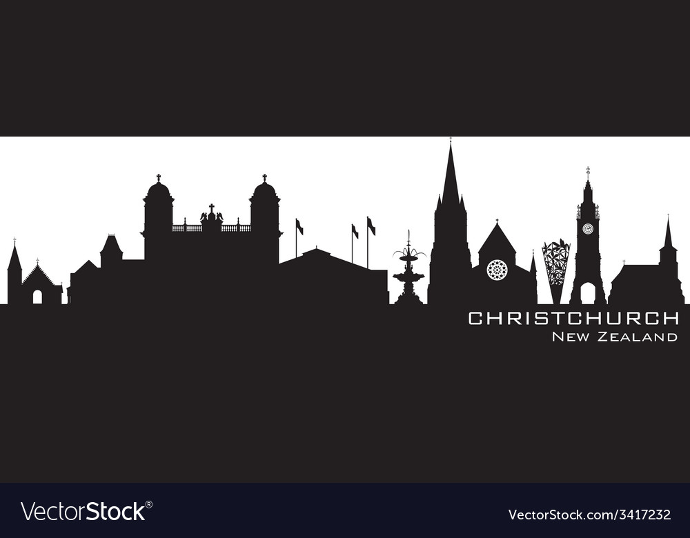Christchurch new zealand skyline detailed silhouet vector | Price: 1 Credit (USD $1)