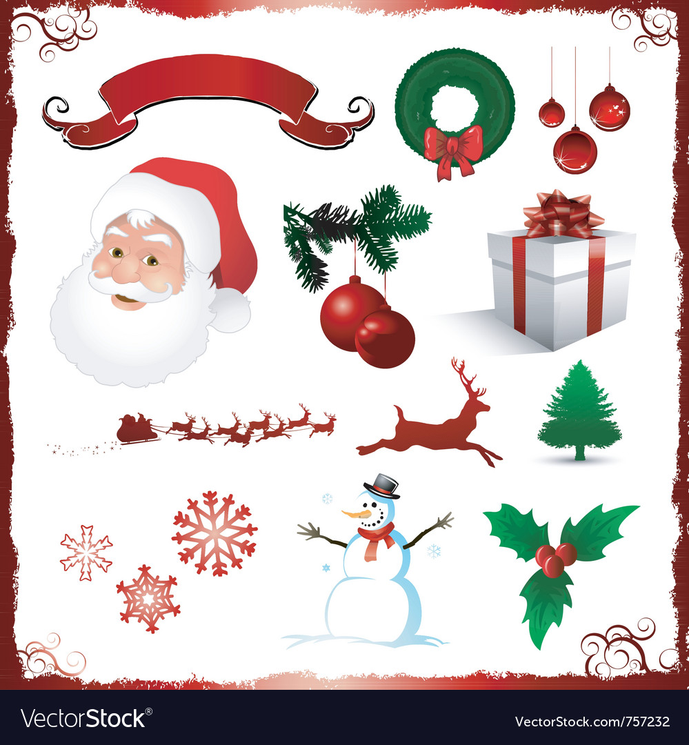 Christmas elements isolated on white vector | Price: 3 Credit (USD $3)