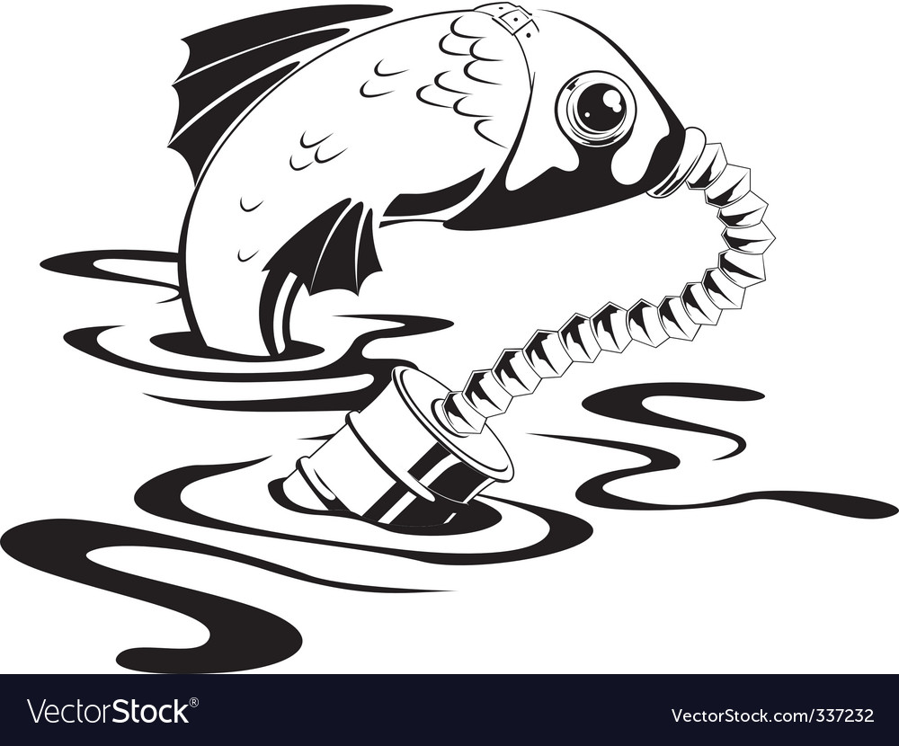 Fish in gas mask vector | Price: 1 Credit (USD $1)