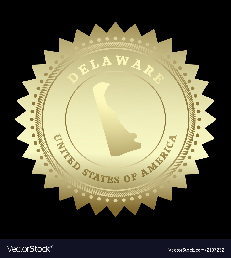 Gold star label delaware vector | Price: 1 Credit (USD $1)