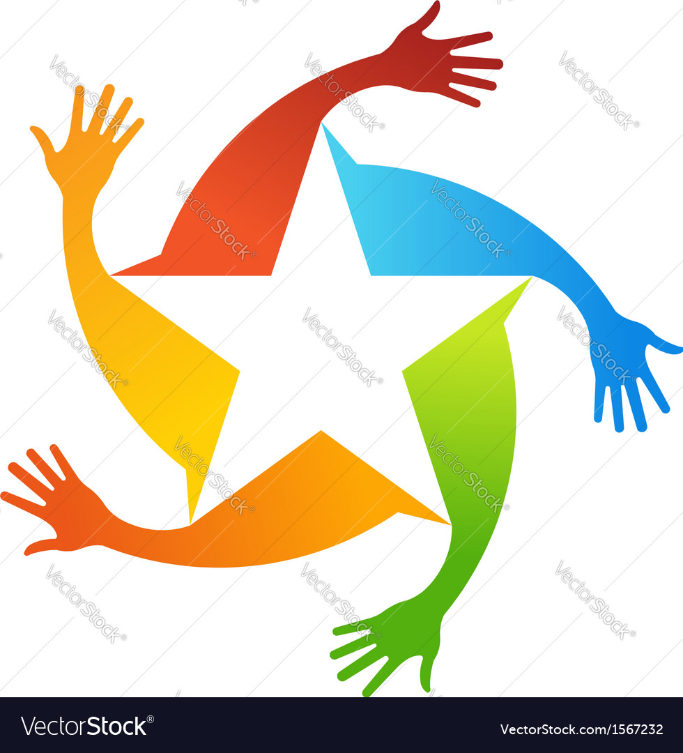 Hand stars logo vector | Price: 1 Credit (USD $1)