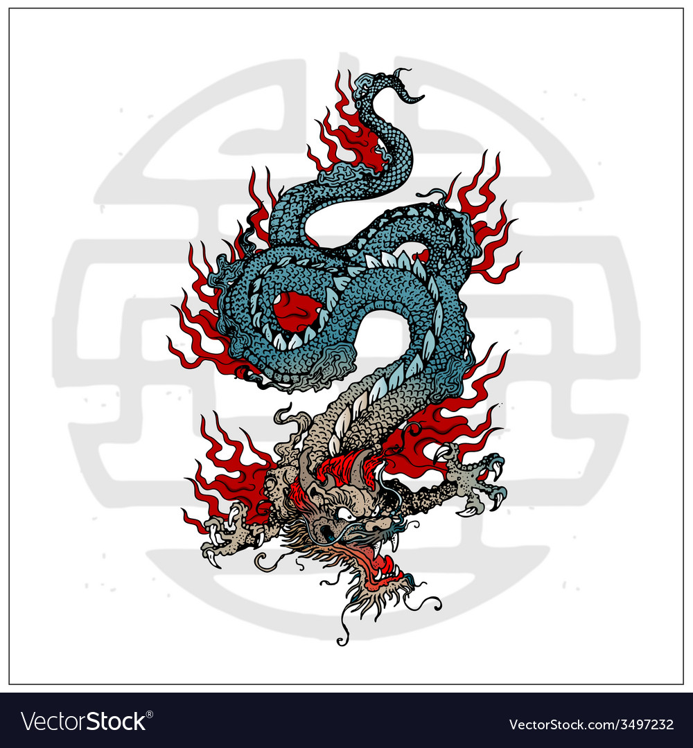 Japanese dragon tattoo vector