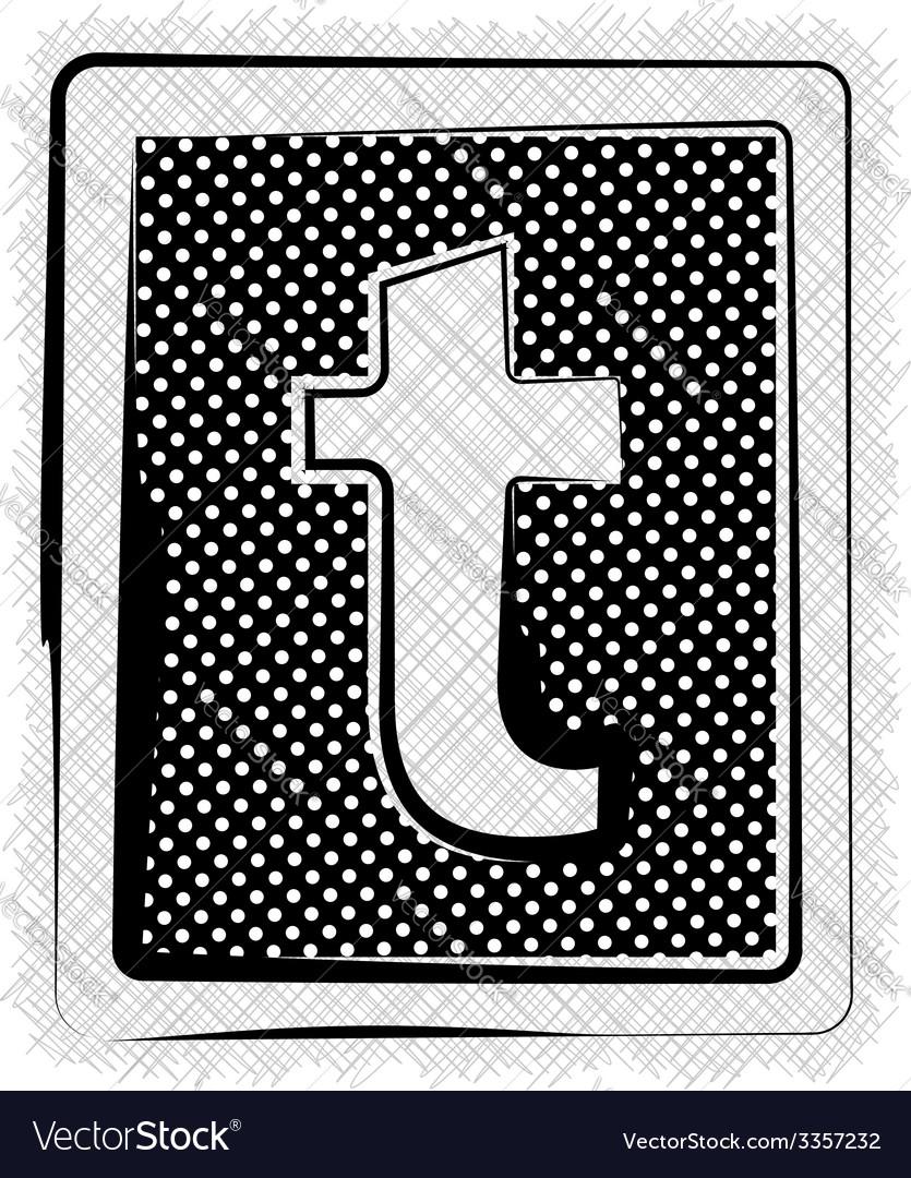 Polka dot font letter t vector | Price: 1 Credit (USD $1)
