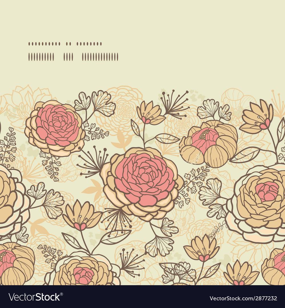 Vintage brown pink flowers horizontal frame vector | Price: 1 Credit (USD $1)
