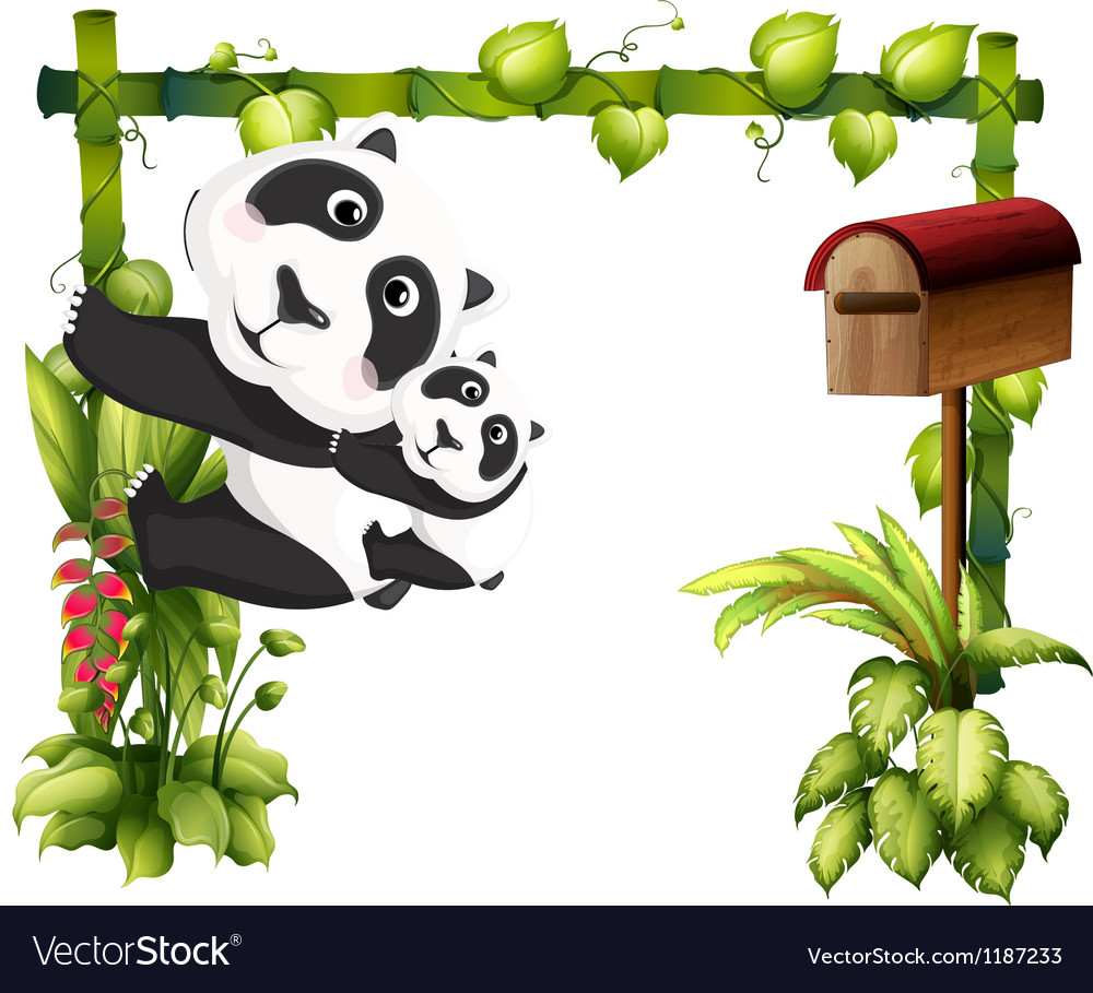 A mother panda together with her baby vector | Price: 1 Credit (USD $1)