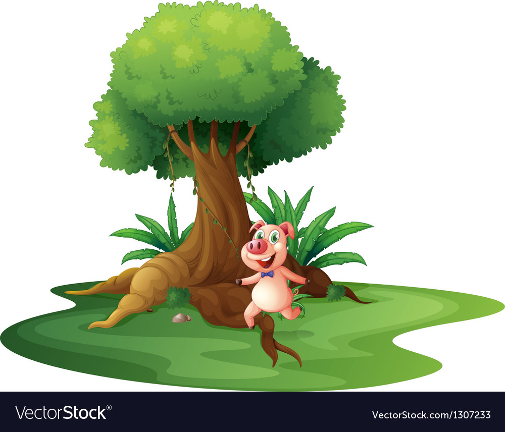 A pig standing under the big tree vector | Price: 1 Credit (USD $1)