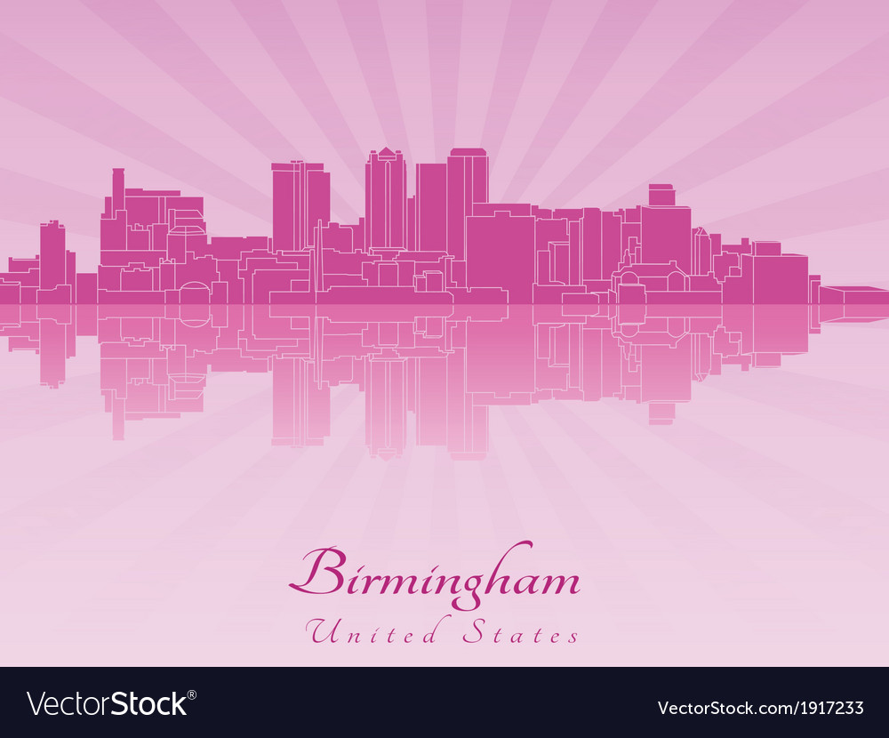 Birmingham al skyline in purple radiant orchid vector | Price: 1 Credit (USD $1)