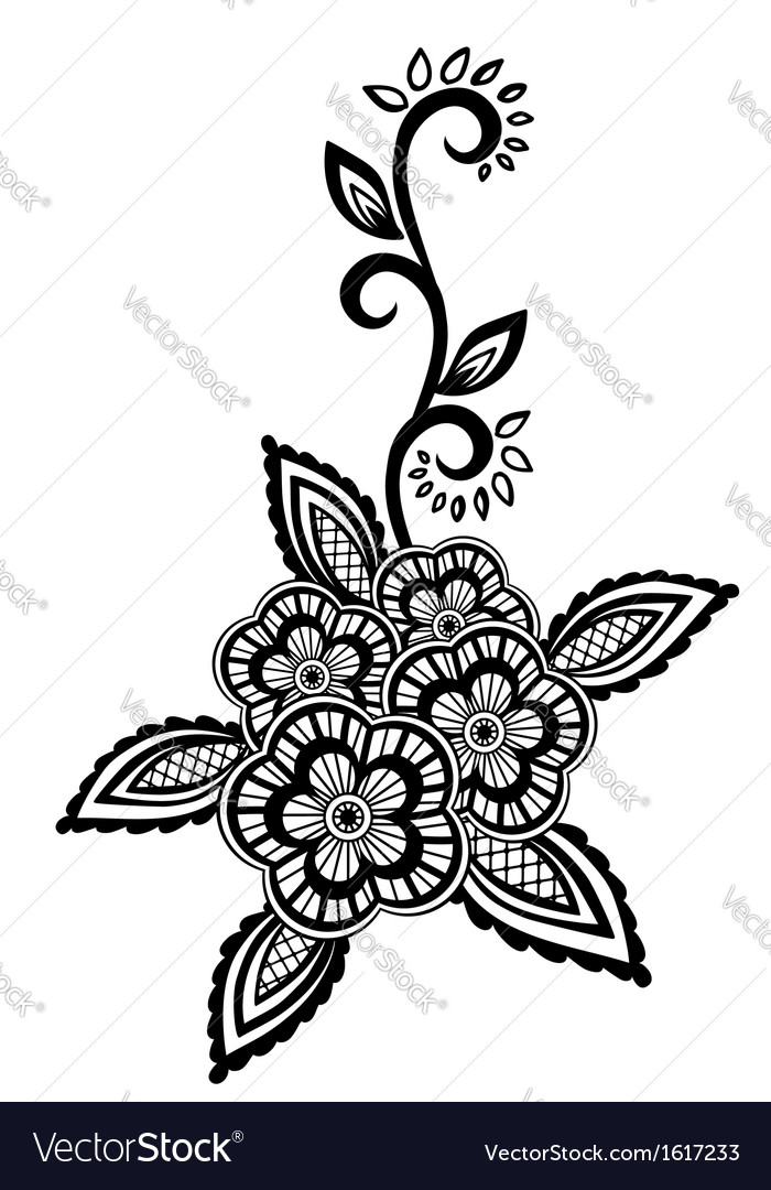 Black-and-white flowers and leaves design element vector | Price: 1 Credit (USD $1)