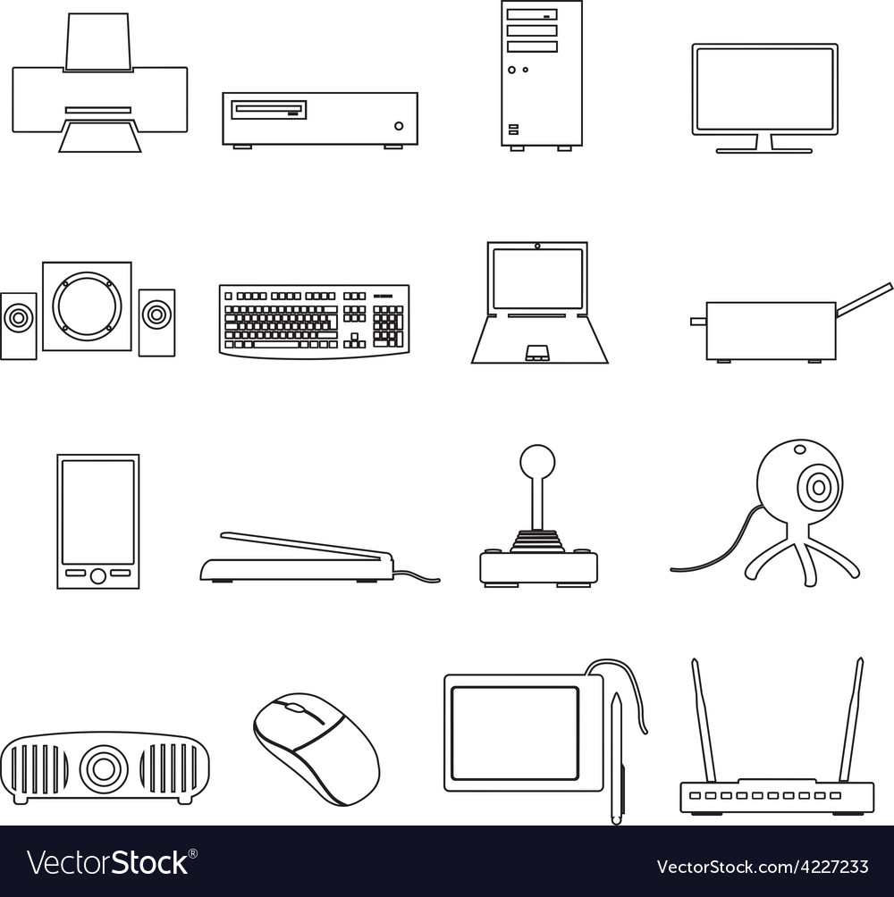 Computer peripherals black outline icons set eps10 vector   Price: 1 Credit (USD $1)