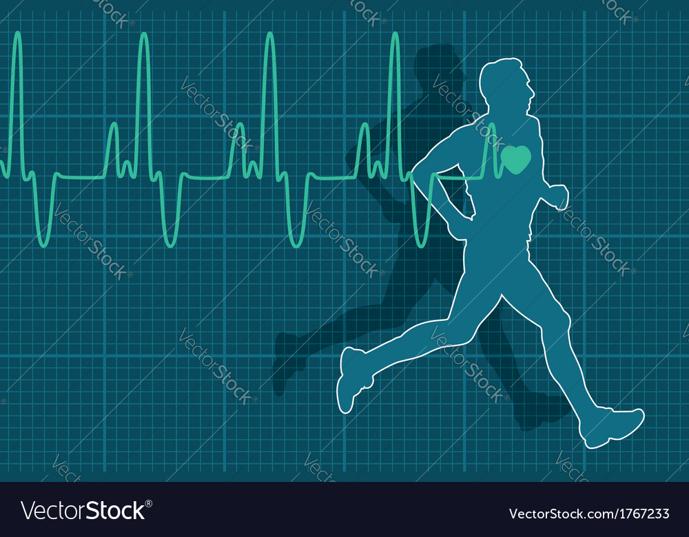 Electrocardiogram and running man vector | Price: 1 Credit (USD $1)