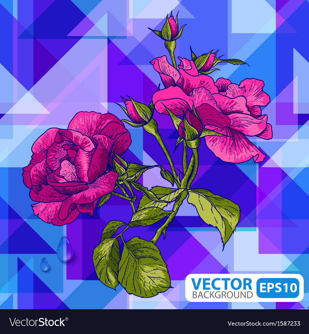 Flowers on a geometric background vector | Price: 1 Credit (USD $1)