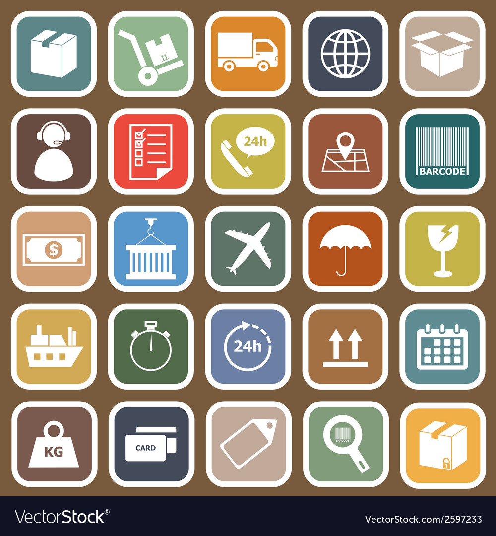 Logistics falt icons on brown background vector | Price: 1 Credit (USD $1)
