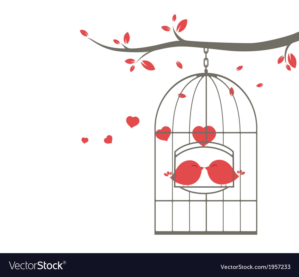 Love birds on the cage vector | Price: 1 Credit (USD $1)