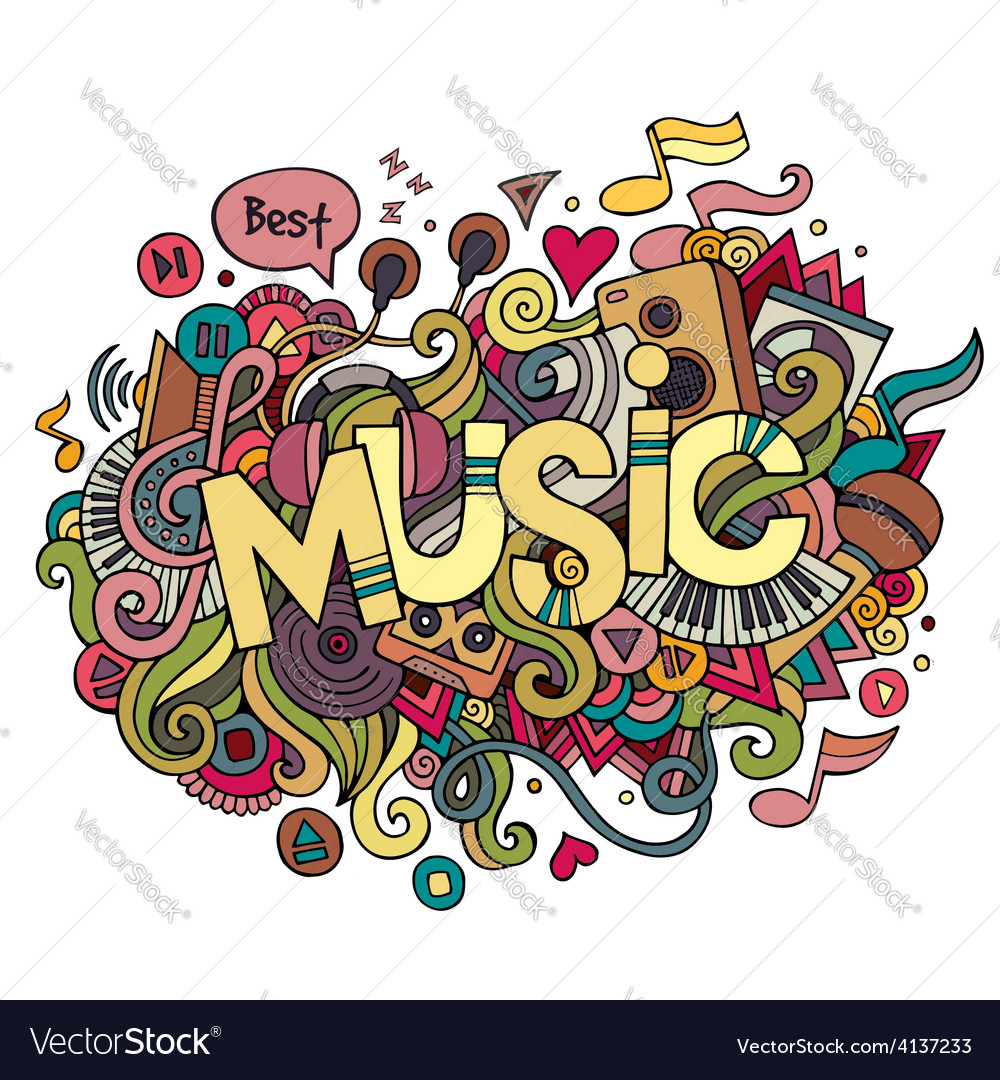 Music hand lettering and doodles elements vector | Price: 1 Credit (USD $1)