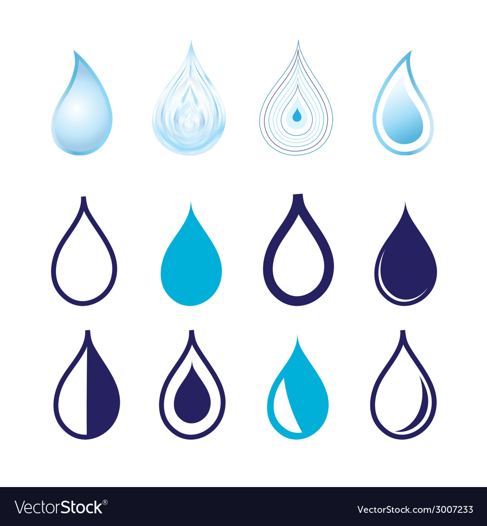 Set different graphics water drops vector