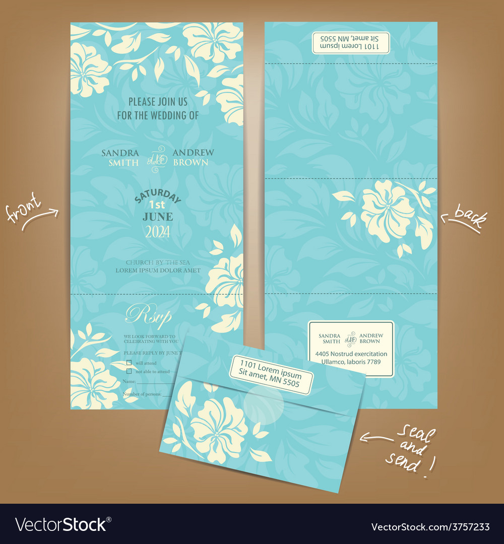 Wedding invitation seal and send vector | Price: 1 Credit (USD $1)
