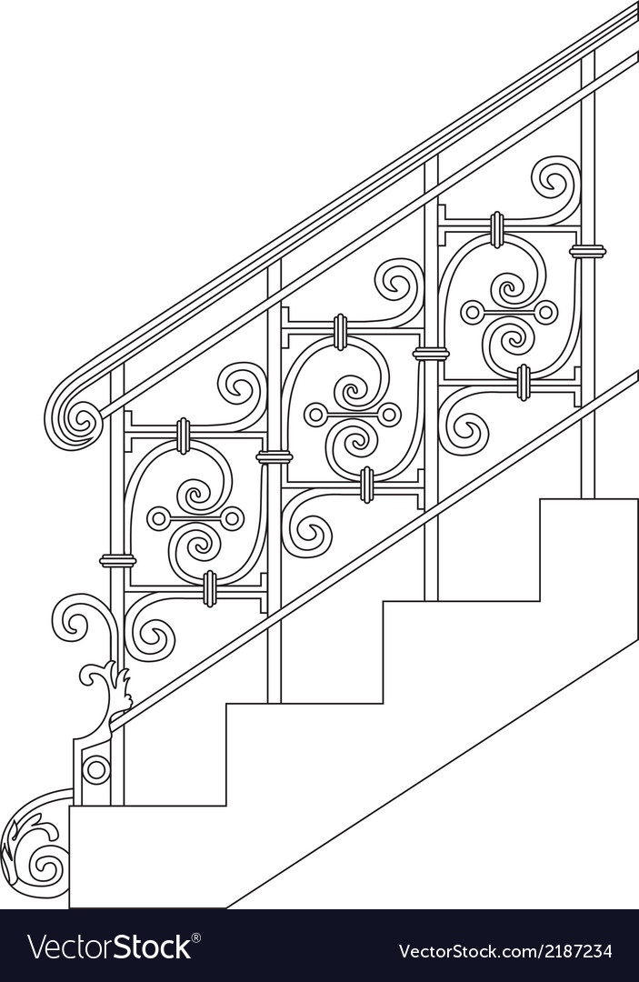 Black forged metal railings with floral motifs vector | Price: 1 Credit (USD $1)