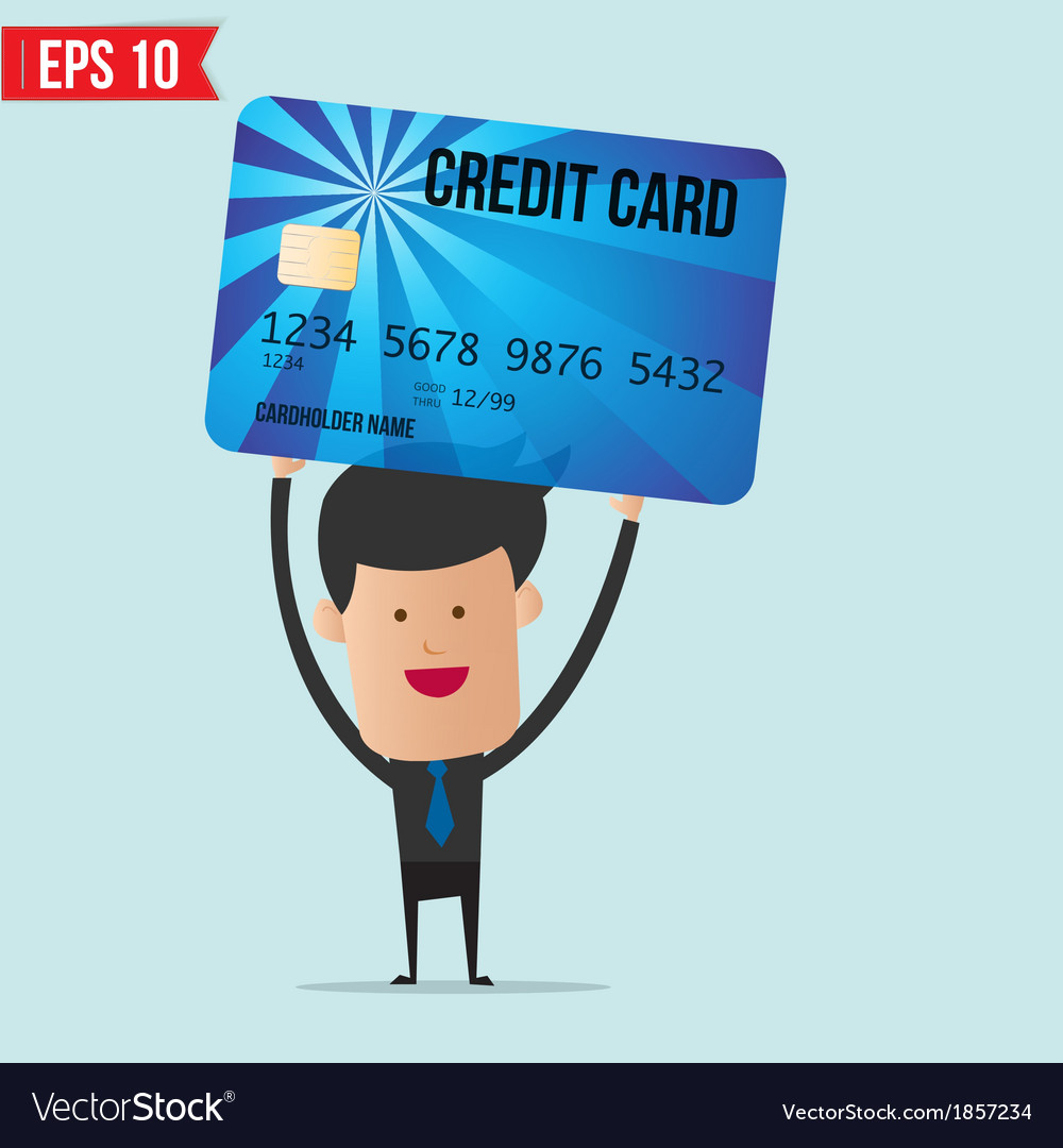 Businessman holding credit card vector | Price: 1 Credit (USD $1)