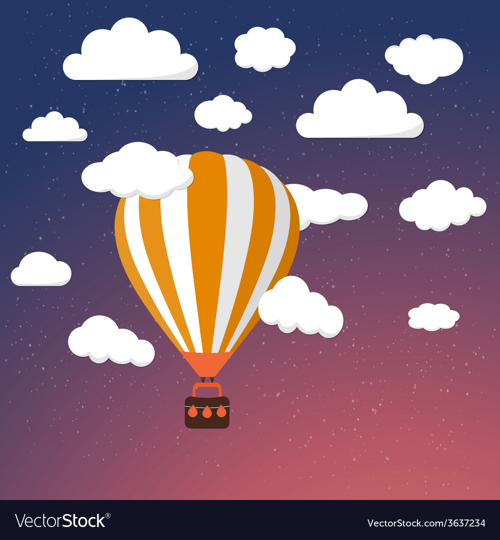 Cartoon retro air balloon on night sky background vector | Price: 1 Credit (USD $1)