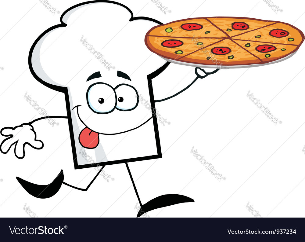 Chef hat guy carrying a pizza vector | Price: 1 Credit (USD $1)