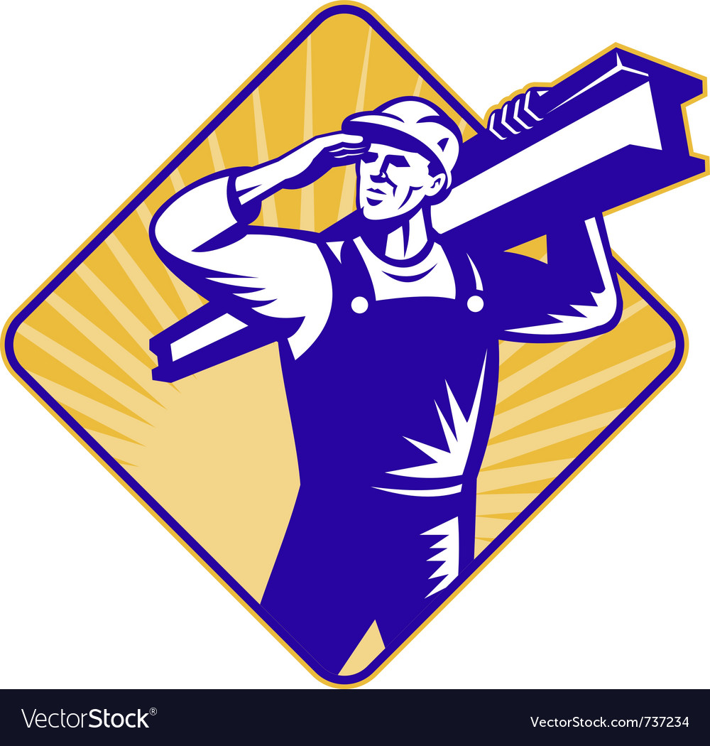 Construction worker saluting vector | Price: 1 Credit (USD $1)