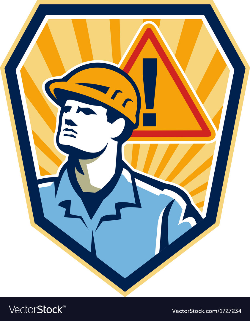 Contractor construction worker caution sign retro vector | Price: 1 Credit (USD $1)