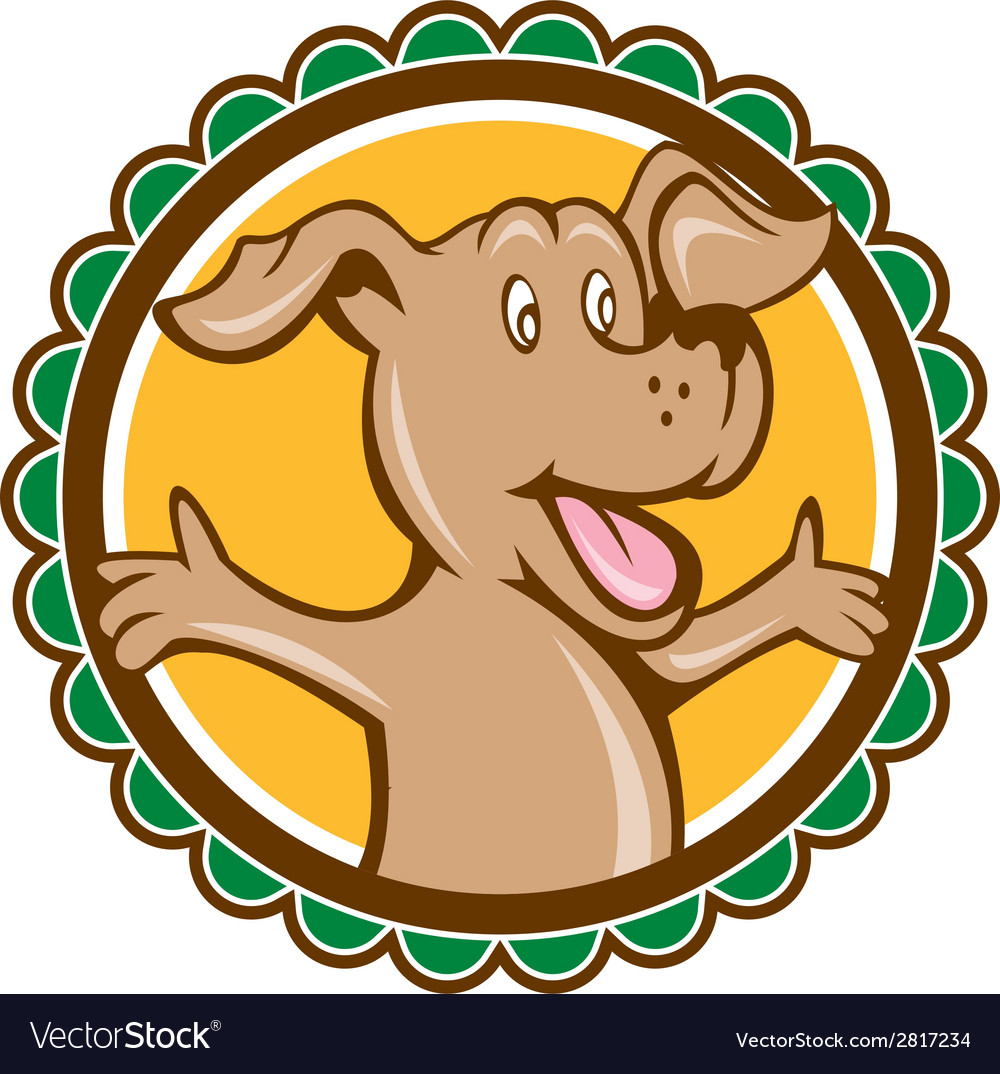 Dog arms out rosette cartoon vector | Price: 1 Credit (USD $1)