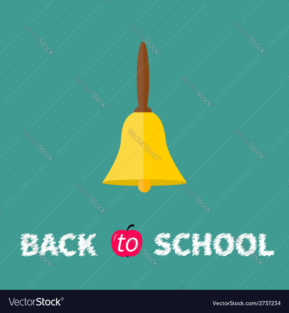 Gold bell with handle back to school chalk text vector | Price: 1 Credit (USD $1)